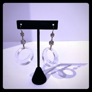 Bebe Lucite and crystal dangly earing
